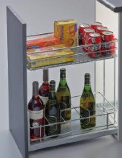 Botellero Conservero Guía Hettich extracción total con freno y tapas