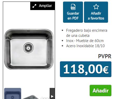 FREGADERO TEKA B.E. 50.40 PLUS INOX