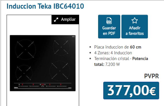 PLACA INDUCCION IB 64010