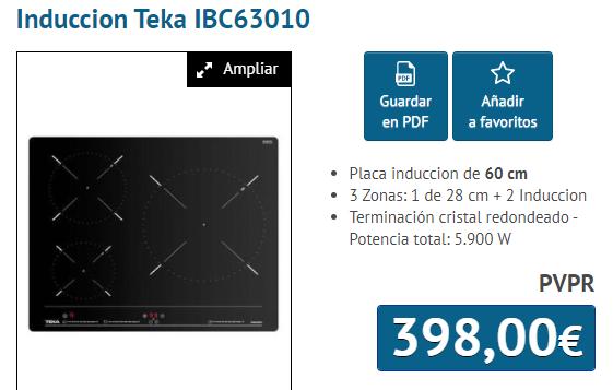 PLACA INDUCCION TEKA IB63010